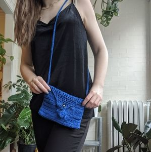 Blue Crochet, Small, cross body purse
